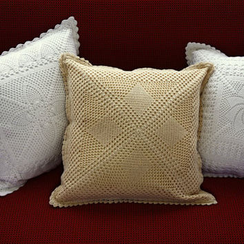 Set 2 Pillows - Handmade CROCHET DECORATIVE PILLOWS- Vintage Elite Collection - Mixed Designs- Home Decor- Sofa Decor- Crochet Pillow Covers