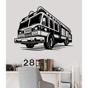 Vinyl Wall Decal Firefighter Fire Truck Engines Children Room Stickers Unique Gift (ig3509)