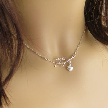 Two Love Birds and Heart Necklace. Two Little Birds On Branch Necklace. Sweethearts. Sterling Silver Necklace.