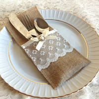 burlap and lace rustic silverware holder, wedding, bridal shower, tea party table decoration