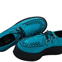 TUK Low Creeper Turquoise Suede Mondo Creeper Shoes Unisex
