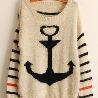 Black Pullover Navy Anchor Striped Mohair Sweater