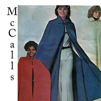 1970s Women's/Misses Unlined Cape with Collar, Frog Closures Easy to Sew McCalls 5244 Vintage Sewing Pattern Size 10-12/ Bust 32.5-34 UNCUT
