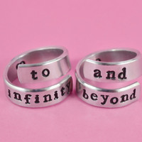 to infinity and beyond - Aluminum Spiral Rings, Bestfriend Rings, Couples Ring Set, Hand Stamped,  Shiny,  Skinny, Newsprint Font V2