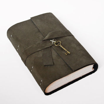 Olive Large leather journal pleather vegan Faux suede Book of Shadows