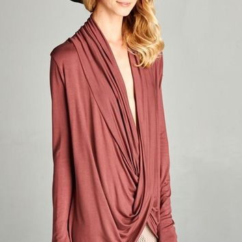 Draping Front Long Sleeve Top