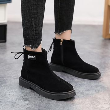 SHOES BOOTS Women Lace-up Square Ankle Boots Buckle WinteR Thick Suede