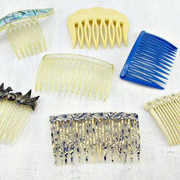 Vintage Hair Comb Set Lot, Cream & Blue Hair Combs, Plastic Hair Combs, USA Mexico Goody France Hair Comb, 40s 50s 60s 70s Hair Accessories