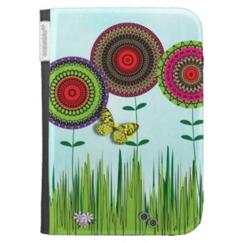 Whimsical Summer Flowers and Butterfly Case For Kindle