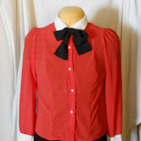 Red White Stripe Blouse / Shirt Black Pussy Bow Tie Vintage 80s Puff Sleeves Size Large Preppy / Indie / Hipster / Career