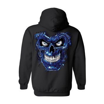 Unisex Zip Up Hoodie Blue Robotic Skull