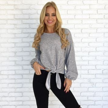 Knot Into You Sweater Top in Grey