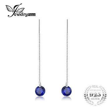 JewelryPalace 5.6ct Round Created Sapphire Threader Earrings 100% 925 Sterling Silver Charms Fine Jewelry For Women 2017 Fashion