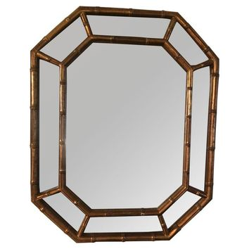 Pre-owned Octagonal Faux Bamboo Chinoiserie Mirror