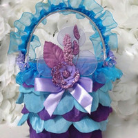 Wedding Flower Girl Basket - Purple And Turquoise Wedding - Butterfly Wedding - Decorative Basket - Flowergirl Basket - Baskets And Pillows