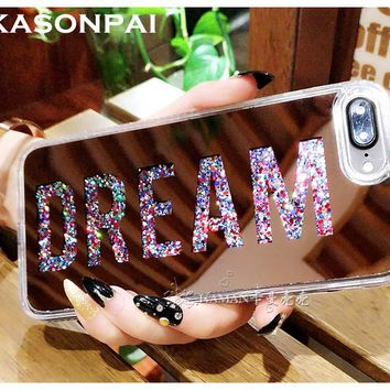 KASONPAI Letter Dearm Mirror Bling Dynamic Liquid Glitter Quicksand Hard Back Soft Edge Case Cover For iPhone 6 6S 7 Plus Case