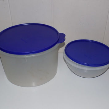 Lot of Tupperware Storage Blue Lids