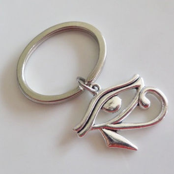 Silver keychain, Eye of Horus Keychain, silver Eye of Horus charm, best friend gift, friendship Gift