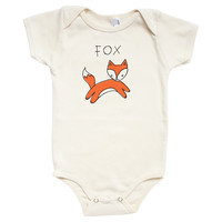 Organic Cotton Fox Onesuit, Orng/Natural, Children's Clothing