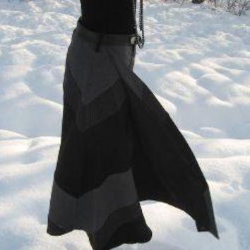 Grey and black striped wool wrap skirt by fayefayeyang on Etsy