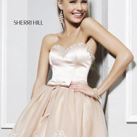 Sherri Hill 21238 - Beaded Strapless Sweetheart Dress in Nude