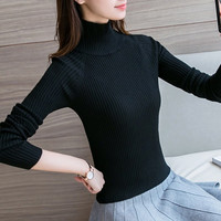 Autumn and Winter Women knitted shirt Fashion Casual Sweaters Long sleeved Turtleneck Solid color Pullovers