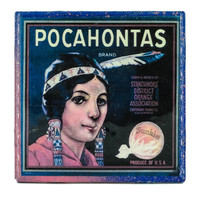 * Stella Divina * | Handmade Coaster Pocahontas Brand - Vintage Citrus Crate Label - Handmade Recycled Tile Coaster | Online Store Powered by Storenvy