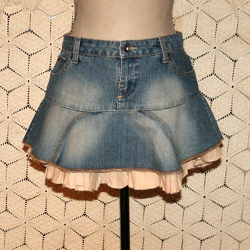 Vintage Jordache Denim Mini Skirt Flared Skirt Boho Jean Skirt Ruffle Skirt Cowgirl Mini Teen Clothing Size 4 Size 6 Small Womens Clothing
