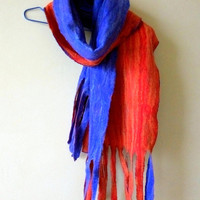 Wool scarf Gifts for artists Bohemian scarf Wet felted scarf Men's scarf felted warm scarf Blue red Gift for designer Gift for best friend