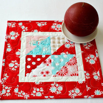 Quilted Table Topper, Floral Candle Mat, Red White Turquoise, Square Summer Table Runner, Flowerpot Mat, Table Quilt, Quiltsy Handmade