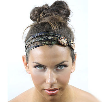 Leopard print bow headband, vintage style hairband, small bow headbands, headband