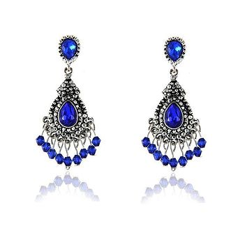 Gem Studded Police Awareness Chandelier Earrings