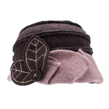 ICIK4S2 Lawliet Two-Tone Womens Ladies Winter 1920s 100% Wool Leaf Bucket Beret Cap Hat A375