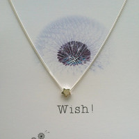 Sterling Silver Wish Upon a Star Necklace, Good Luck Charm, Bridesmaid gift, Christmas Gift, Wish Necklace