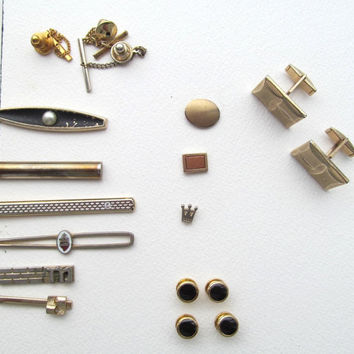Tie clips and tie tacks cuff links vintage 12 pc lot Swank and Shields