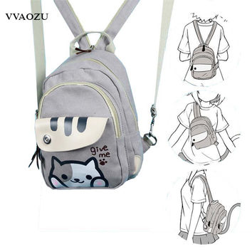 Free Shipping Cat Backyard Print Girls Lolita Shoulder Bag Adorable Student Backpack Cartoon Mini Chest Bag Rucksack