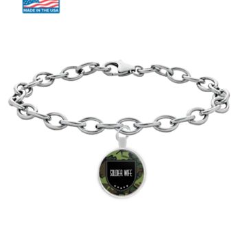 Soldier Wife Bracelet - Proud Wife Of A Soldier - Army Wife Jewelry - Gifts For Military Wife - Affirmation Necklace - Proud Wife Of A Us Army Veteran - Round Shaped  Bracelet With Sterling Plated Pendant That Fits All