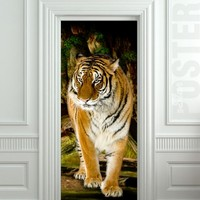 "Door STICKER tiger wildlife zoological animal zoo mural decole film self-adhesive poster 30x79""(77x200 cm)"