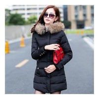 Winter Woman Middle Long Slim Down Coat Fur Collar black