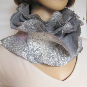 Handmade felted Long ruffle scarf ashy-gray, silver and pink