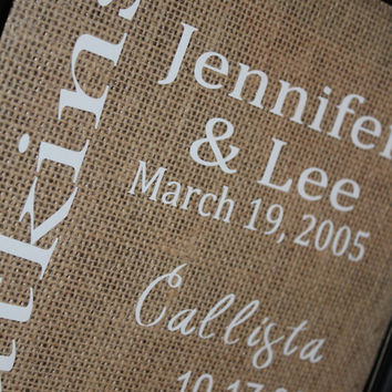 Personalized Family Burlap Print, housewarming gift, anniversary gift, family decor,family important dates