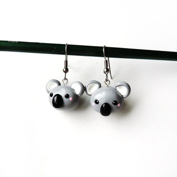 Cute Koala Dangle Earrings - Kawaii Polymer Clay Jewelry