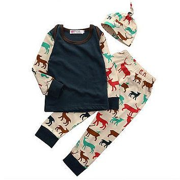 Autumn Baby Boys 3pcs clothing set kids Baby boy Girls Clothes sets Baby Girl Boy Tops T-shirt+ Pants +Hat Outfit Set Clothes