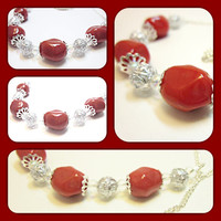 Cherry Red Necklace~Women's Beaded Necklace~Red Chunky Bead Necklace With Silver Fancy Spacer Beads And End Caps~Silver Chain And Clasp
