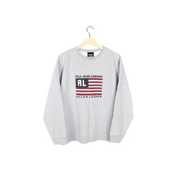 90s RALPH LAUREN POLO sweatshirt - vintage 1990s - american flag logo sweater - medium - large