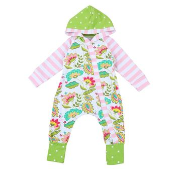 Toddler Newborn Baby clothes Boys Girls Flower Hooded Rompers long sleeve Jumpsuit Outfits Clothes baby rompers