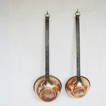 Rustic Ladles, Vintage Ladles, Copper Ladles, Large Long Handled Ladles, Scoop Ladles, Fireplace Décor, Kitchen Wall Decor, Primitive Ladles
