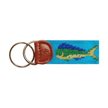 Mahi Mahi Needlepoint Key Fob in Aqua by Smathers & Branson