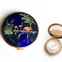 Vintage Melissa Compact | Flamingo Design | 1950's Powder Compact | Blue Compact | Unused Face Powder Compact