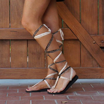 Gladiator Sandals with Interchangeable Laces. Knee High Lace Up Sandals.